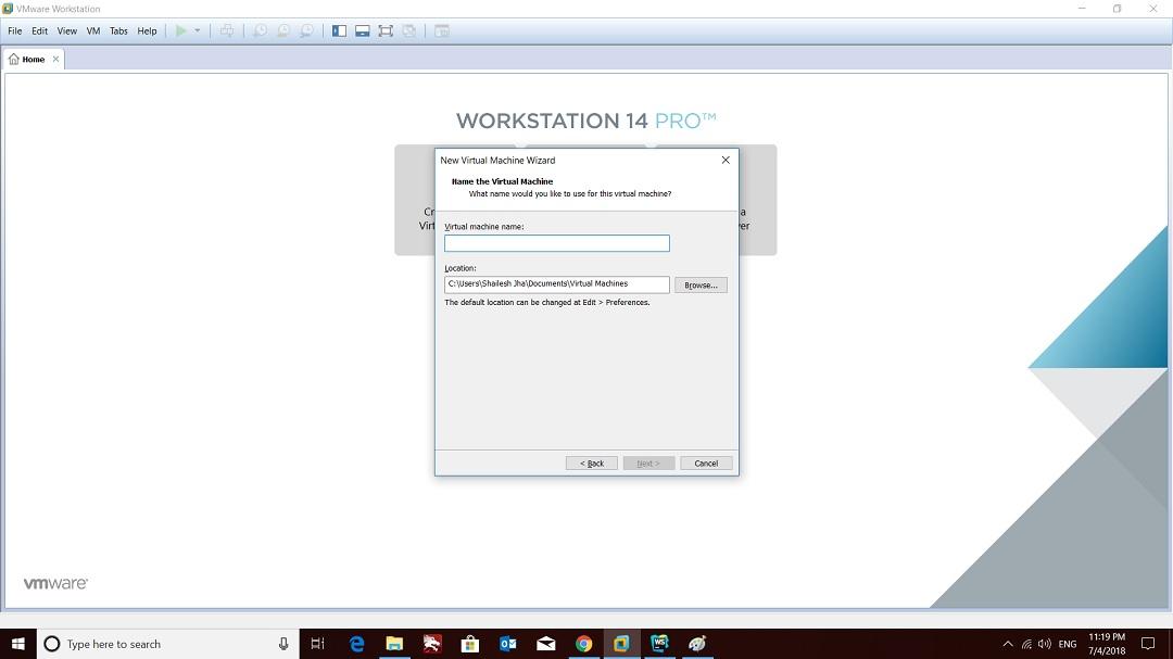 VMware workstation home - create a new virtual machine wizard - virtual machine name screenshot
