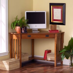 interior-ideas-furniture-walnut-brown-wooden-computer-desk-with-single-drawer-and-open-shelf-ornate-with-rattan-boxes-and-plants-on-dark-wooden-floor-fascinating-corner-desk-with-shelves-and-drawers