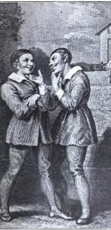 The Two Dromios Reunited (5.1). From Stories of Shakespeare's Comedies by Helene Adeline Guerber. Illus. A. Richter