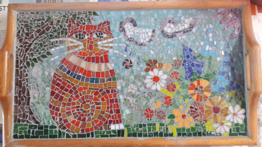 june joys in gratitude wth art project mosaic being completed with Miao in full splendour