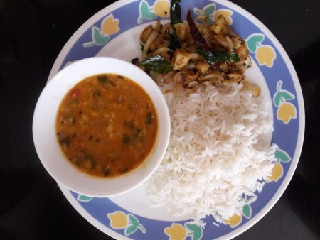 gratitude - moringa leaves-dal-chawal-lunch