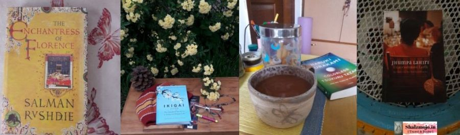 Books- flowers- tea cup -Gratitude - july - tiring- flow- mindfulness - thankful