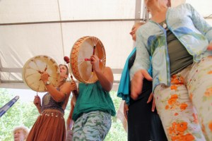 Drumming at Earth Lodge in Italy