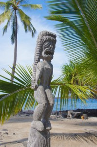 Pose - Carved Wooden Statue Of Ancient Hawaiian