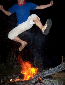 jumping over the fire