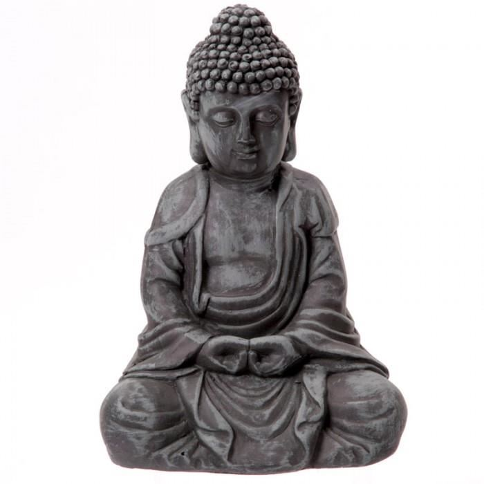 bouddha gris de jardin statue sculpture 31cms shamballa. Black Bedroom Furniture Sets. Home Design Ideas