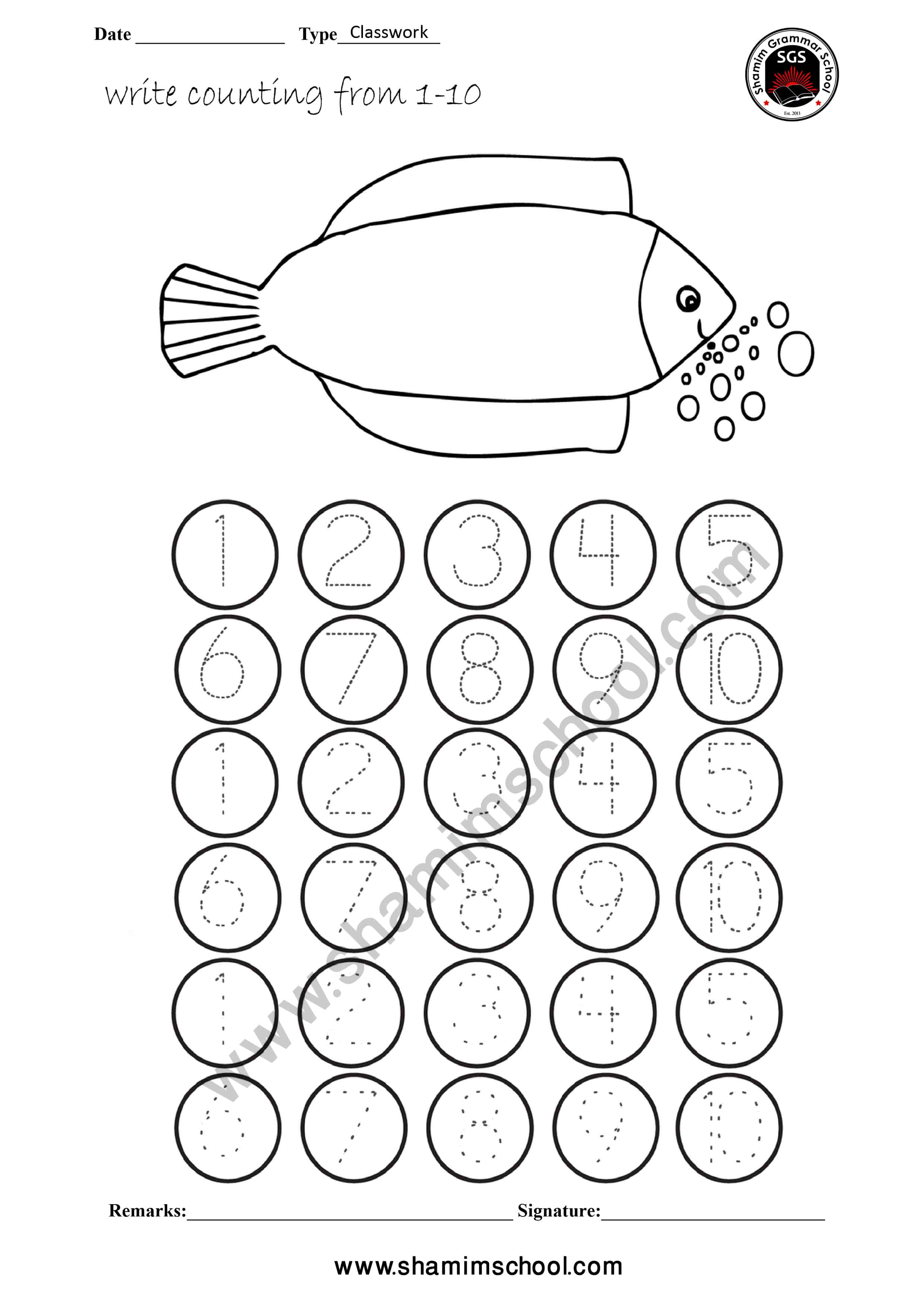 Pre School Counting Worksheet on Tracing Dots (Number 1-10 ...