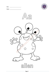 English Alphabets A Tracing Worksheet