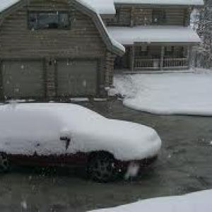 snowy driveway with heating