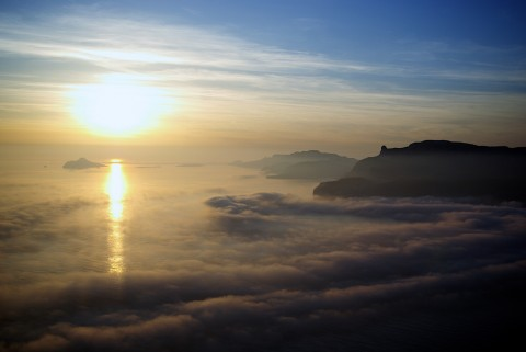 Sunset on a sea clouds over Les Calanques