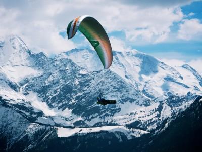 Clement Latour above Mont Blanc
