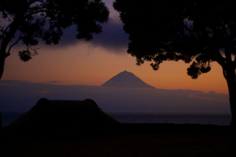 Camp site at sunset in front of Pico volcano / Azores