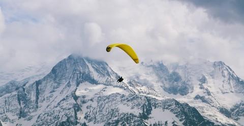 Paragliding above Mont-Blanc