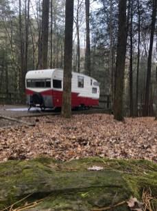 Retro camper at campsite 84