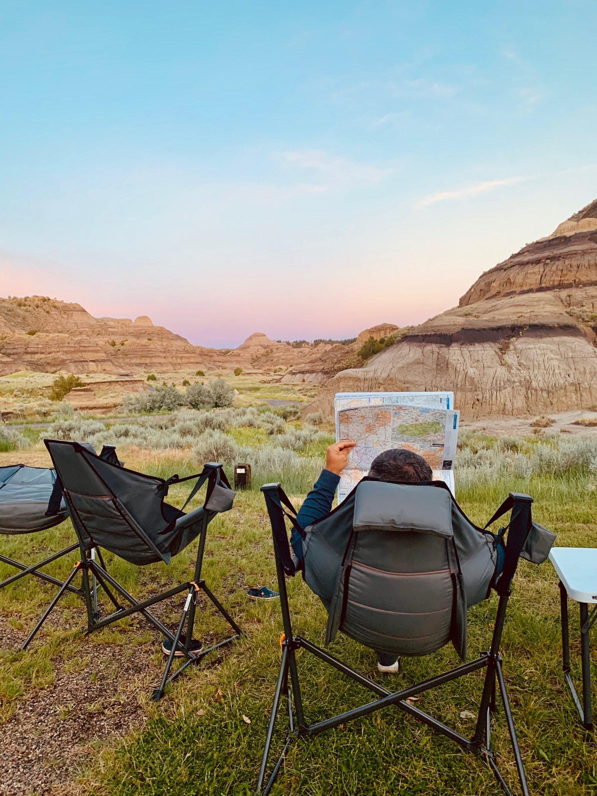 Sunset-Road-Trip-Planning-in-Swinging-Camp-Chair
