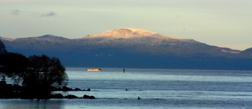 New-Zealand Lake Taupo with Mountain Snow