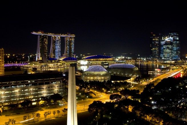 Singapore by Night from the Fairmont Hotel