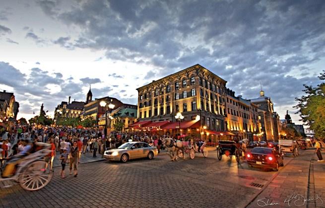 Montreal Street Scene, Evening photo of street in Montreal