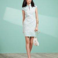 SHANGHAI TANG #QIPAO | Elegant mint white cap sleeve Qipao dress with porcelain palm embroidery…..