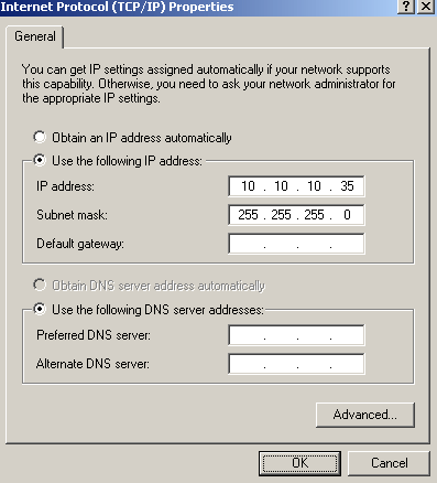 In the IP properties dialog configure a static IP address following the example belowIP Address: 10.10.10.35 Subnet Mask: 255.255.255.0