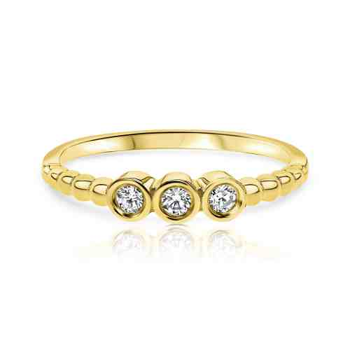 טבעת עיגולים משובצת יהלומים לבנים