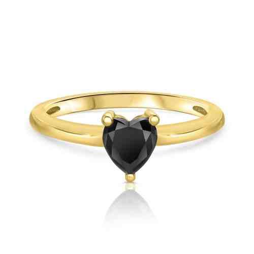 טבעת לב יהלום שחור