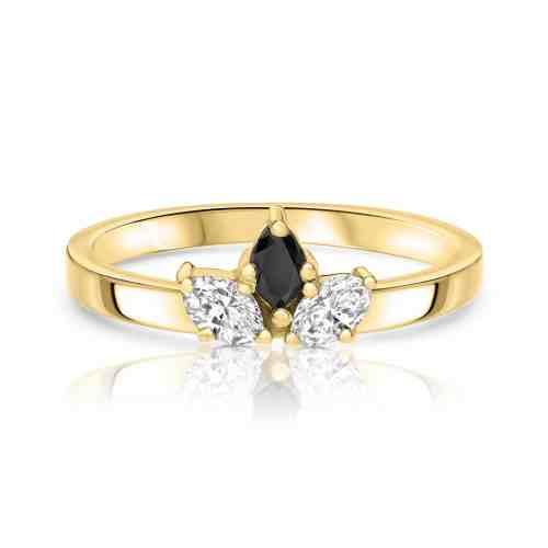 טבעת יהלומי מרקיזה - לבן שחור לבן