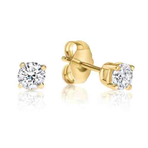 עגילי יהלום לבן צמודים זהב 14 קארט