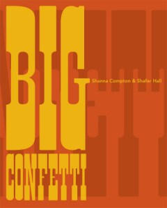 Cover of Big Confetti with bold, western-style yellow lettering on orange background.