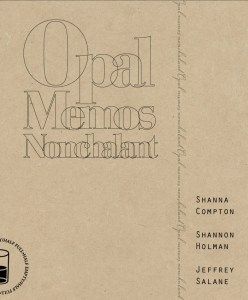Cover of Opal Memos Nonchalant with black typographic design on brown kraft card.