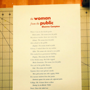 Broadside of The Woman from the Public with orange title and blue text on pale green textured paper.