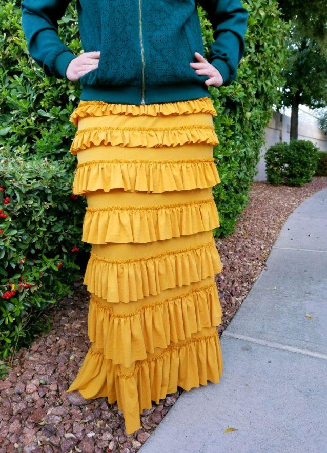 Mustard ruffle eleganza skirt