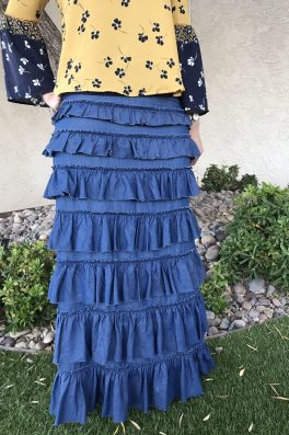 Tencel Denim Ruffle Eleganza Skirt