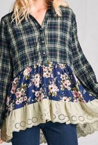 Button plaid floral top