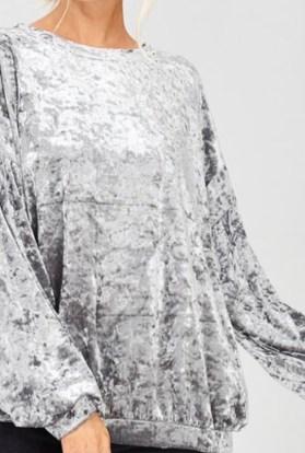 Silver velvet long sleeve top