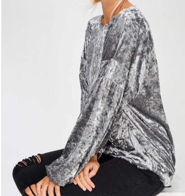 Silver velvet long sleeve top