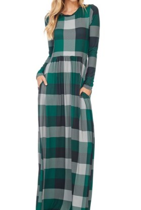 Plaid long sleeve maxi dress