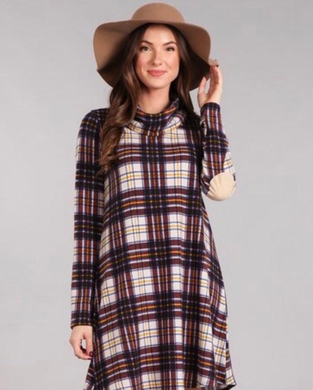 Plaid tunic swing dress