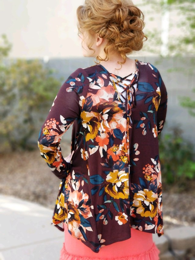 floral sharkbite lace up tunic