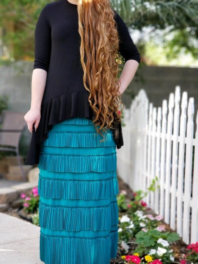 Pleated Eleganza Skirt ~ Jade