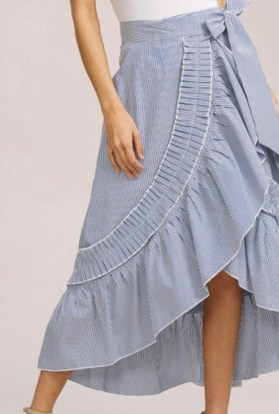 Stripe maxi wrap skirt with ruffle