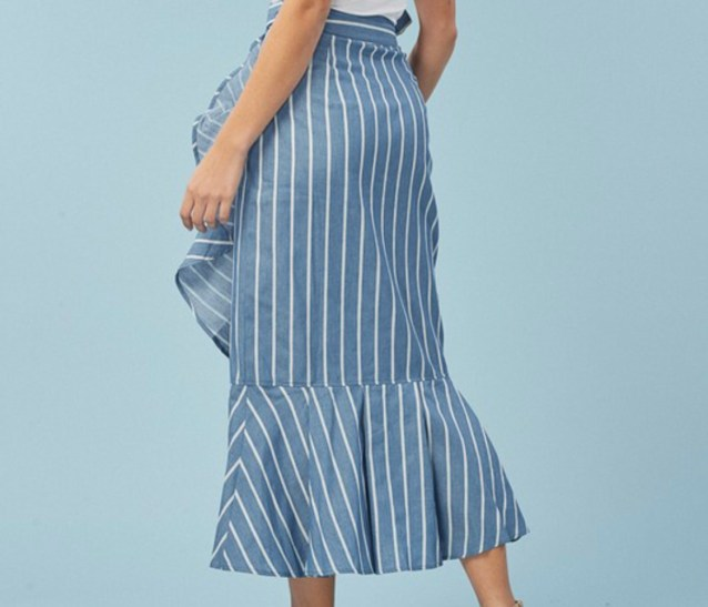 Blue ruffle pinstripe wrap skirt