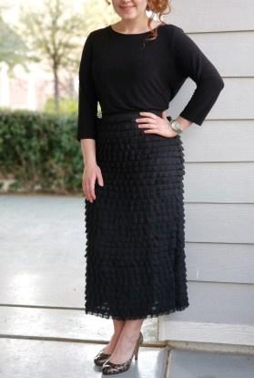 Black tulle pencil skirt
