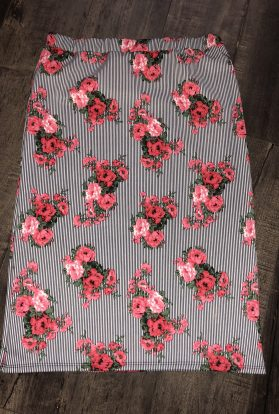 Stripe red floral pencil skirt