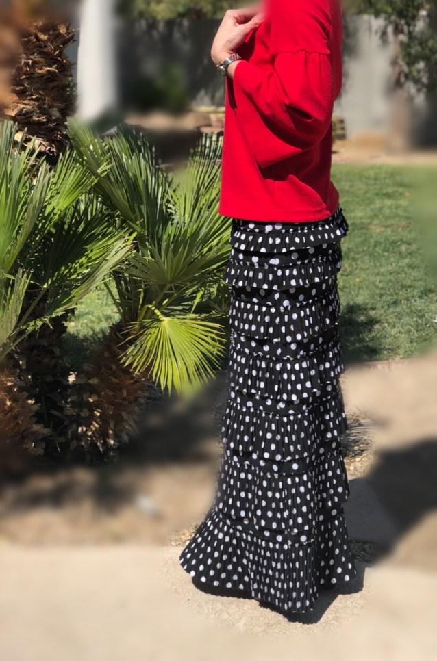 Pleated Eleganza Skirt ~ Polka dot