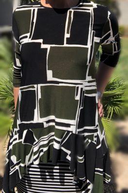 Zari Ruffle Tunic – Green Block