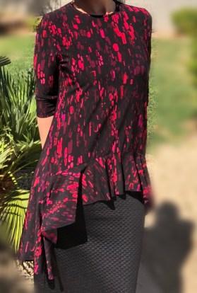 Zari Ruffle Tunic - Pink black