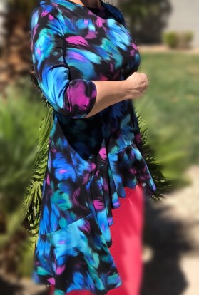 zari ruffle tunic - blue brush