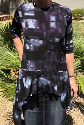 zari ruffle tunic - blue black
