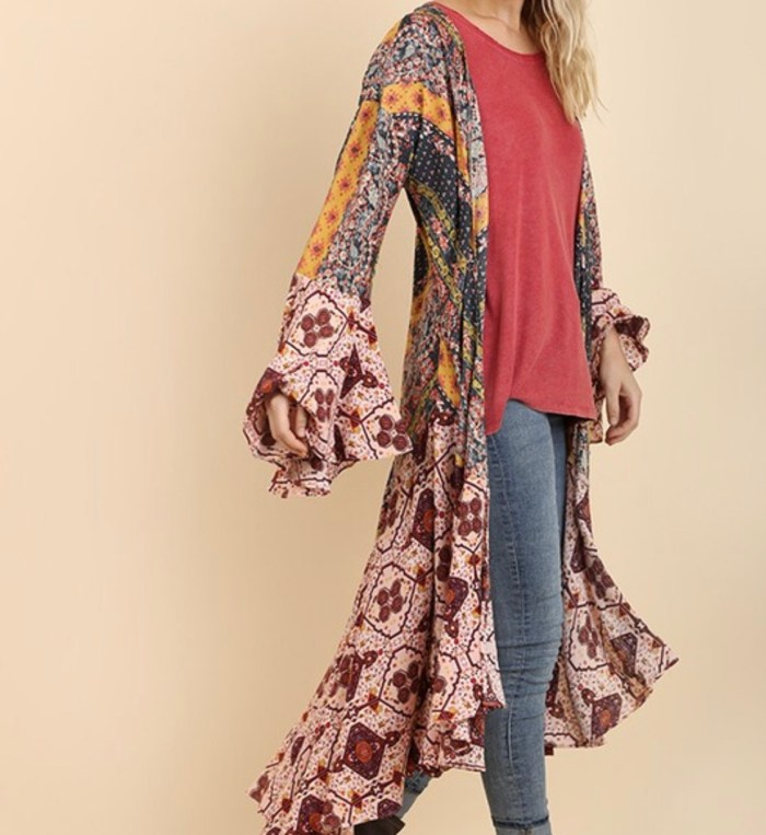 Patchwork bohemian long duster
